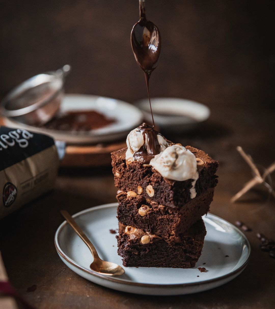 Coffee brownies served with ice cream and hot chocolate