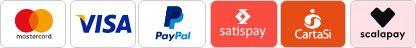 Pagamenti sicuri Certificati: Mastercard, Visa, Satispay, Cartasì, PayPal