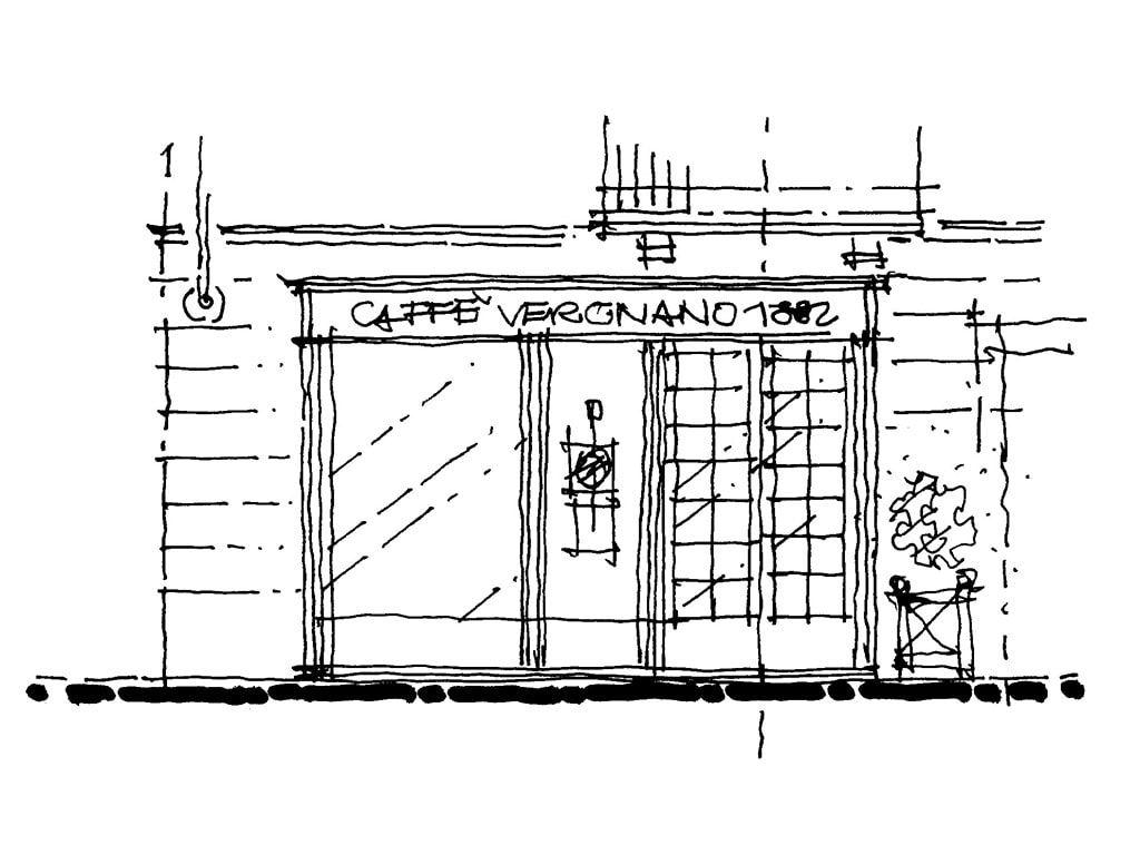 disegno vetrina caffe vergnano